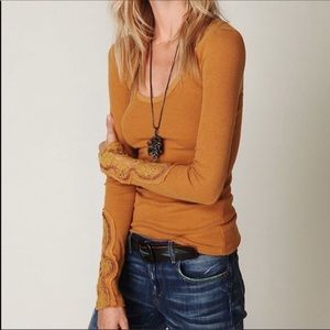 Free People Goldenrod Crafty Cuff Thermal Top